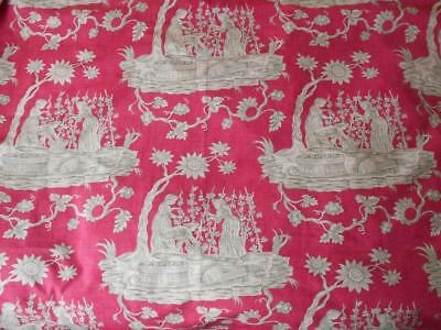 "Vintage Scalamandre ""The Wine Growers"" Toile Hand Print Fabric 1.5 Yd"