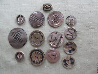 Lot of Celluloid Wafer Carved Buttons-Antique (14 pcs)