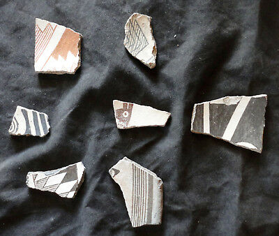 Seven Particularly Fine Classic Mimbres Shards Including One With A Deer's Head