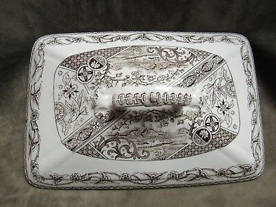 Rare Victorain Aesthetic Transfer Ware Brown Cream T R Boote Yosemite Lid Cover