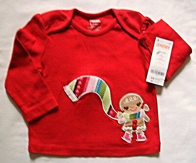 Gymboree NWT Winter Cheer Gingerbread Red Shirt, Size 6-12months