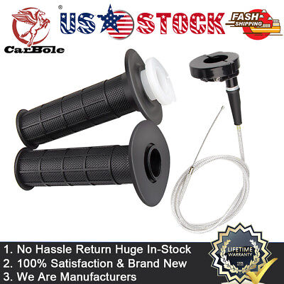 """7/8"""" 22mm Twist Throttle Accelerator Handle Grips and Cable Set for 50/150/250cc"""