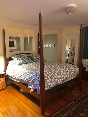 Beautiful Four Poster Shaker Style Solid Cherry Queen Sized Ethan Allen Bedframe