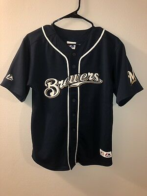 RYAN BRAUN #8 Milwaukee Brewers Majestic Baseball Jersey Sewn YOUTH Large 14-16