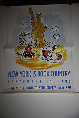 """Charles Schulz Peanuts """"New York Is Book Country"""" Poster"""
