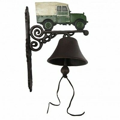 Cast Iron Land Rover Car Bell Door Antique Style On Bracket Wall Mounted