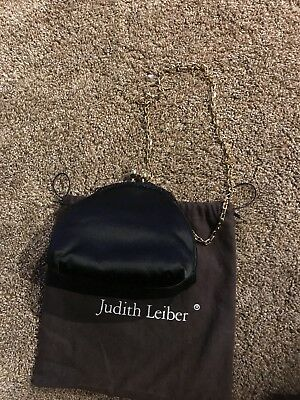 Judith Leiber Black Satin Evening Bag With Gold Chain/ Dust Cover