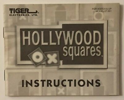 Hollywood Squares (Nintendo System, 1989) NES Game *Instruction Manual Only*