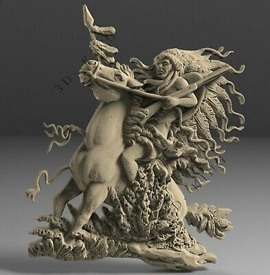 STL 3D Models # NATIVE HUNTER ON THE HORSE # for CNC Aspire Artcam 3D Printer