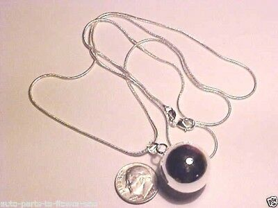 W-37#2  .925 Sterling Silver 20Mm Chime Ball Bell (Angel Caller) Silver Necklace