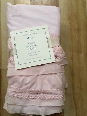 Pottery Barn Kids Baby Organic Sadie Ruffle Pink   Crib Bed Skirt