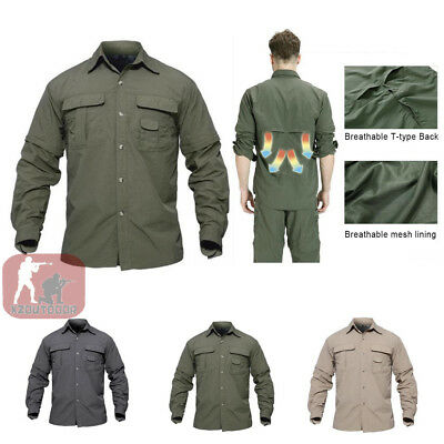 b2765b670fe5 Mens Long Sleeve Shirts Quick Drying Shirt Army Military Hiking Casual  Outdoor