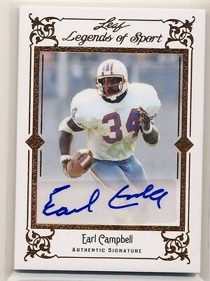 EARL CAMPBELL 2012 Leaf Legends of Sport Signatures AUTO AUTOGRAPH OILERS HOF