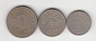 1356 Saudi Arabia 1/4,1/2 And One Ghirish Coin Set.with Redeed Edge