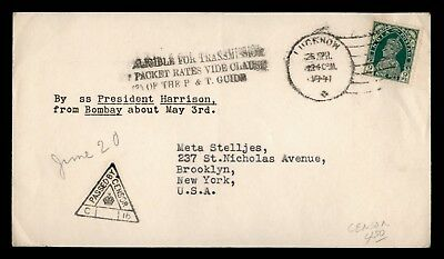 DR WHO 1941 INDIA PAQUEBOT SS PRES HARRISON SHIP TO USA WWII CENSORED d79757