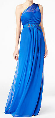 Adrianna Papell NEW Blue Womens 12 Embellished One-Shoulder Gown Dress $189 191