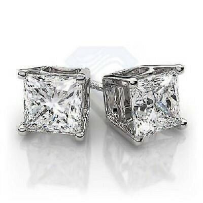 14K White Gold Over 2.00CT Princess Cut Diamond 4 Prong Solitaire Stud Earrings