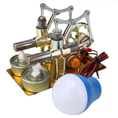 New Double Cylinder Hot Air Stirling Engine Motor Model Generator Toy Kit Gifts