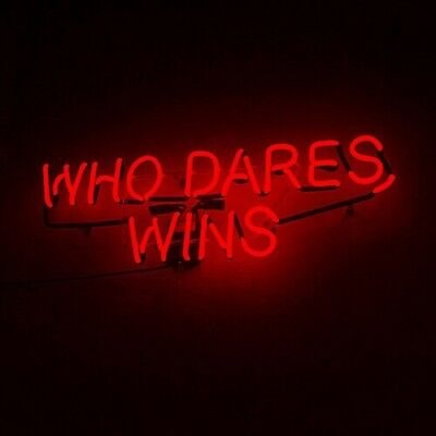 WHO DARES WINS Red Neon Sign Beer Bar Decor 14
