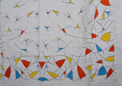Vintage 50s Atomic Modern Table Cloth Abastract Cubism Linen MCM