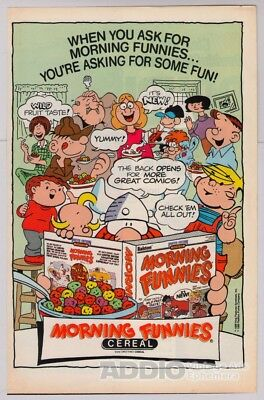 Morning Funnies Cereal '80s PRINT AD comic strip characters Ralston advert 1989