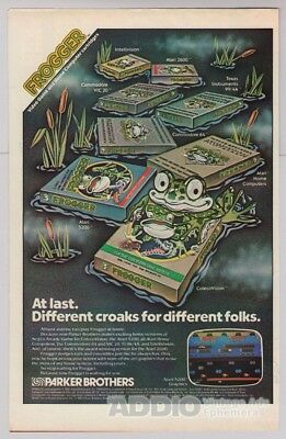 FROGGER video game '80s PRINT AD Parker Brothers arcade advertisement vtg 1983