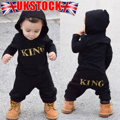 """2019 Baby Kids Boy's """"KING"""" Hooded Romper Bodysuit Jumpsuit Clothes Outfits"""