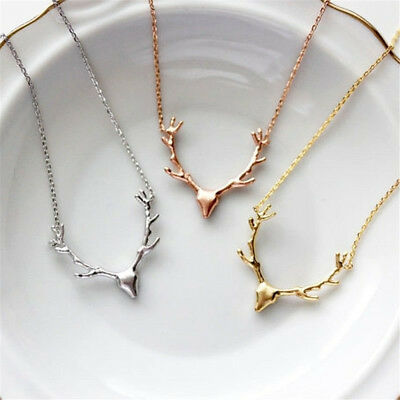 Fashion Women Deer Reindeer Elk Stag Horn Antler Pendant Necklace Chain Jewelry