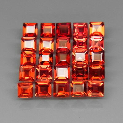 Square 3.5 mm.Outstanding! Natural Red Mozambique Garnet Africa 25Pcs/7.42Ct.