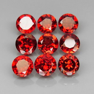 Round 6 mm.Outstanding! Natural Red Mozambique Garnet Africa 9Pcs/8.83Ct.