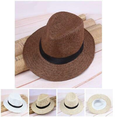 ec97588b67924 Unisex Hat Men Women Fedora Trilby Wide Brim Straw Cap Summer Beach Sun  Panama