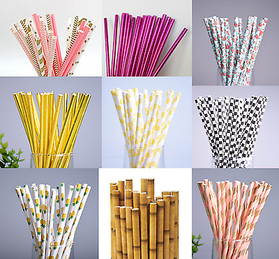 25pcs Drinking Paper Straws Pink Gold Pineapple Black and White Floral Party