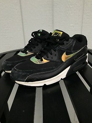 Nike Air Max Iridescent Hologram Size 10.5 Black Leather Suede Shinny Running 1