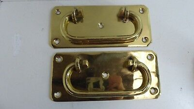 2 Large Heavy Brass Antique Handles Suit Chest , Trunk