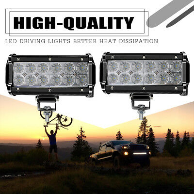 2 PACK 36W 7 Inch Light Bar Led Flood Work Off Road Fog Driving 4x4WD Bumper