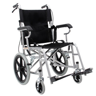 Foldable Aluminium Alloy Wheel chair Wheelchair Folding Armrests new