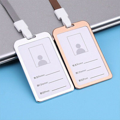 Aluminum Id Card Holder Lanyard Badge Security Photo Id Work Bus Pass Cover Case