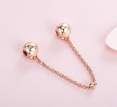 Authentic Pandora Rose Gold Safety Chain Embossed Hearts Clear cz 787636CZ-05