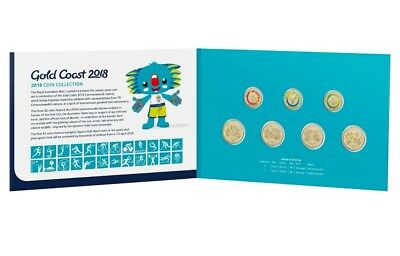 2018 Set Of 7 Xxi Commonwealth Games Coins $1 & $2 Uncirculated Folder Borobi