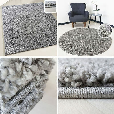 Small X Large Size Grey Fluffy Thick Plain Soft Shaggy Non Shed Rug Modern Rugs