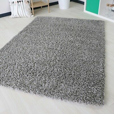 Small X Large Size Thick Plain Soft Grey Shaggy Non Shed Rug Modern Carpet Rugs