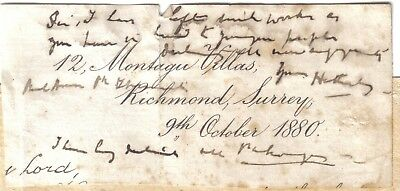 William Page Wood - Baron Hatherley - Lord Chancellor - 1880 note & signature