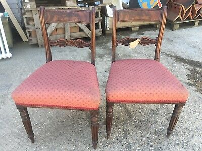 Pair matching upholstered regency dining chairs