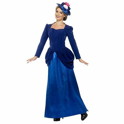 Ladies Blue Magical Victorian Nanny Costume Mary Book Day Fancy Dress with Hat