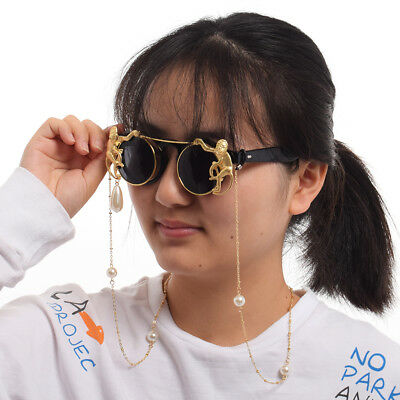 Funny Monkey Round Flip Sunglasses With Pearl Chain Cute Black Frame Sunglasses