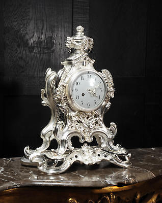 Stunning Large Silver Plated Bronze Rococo Clock ~ Music C1880 Fully Restored