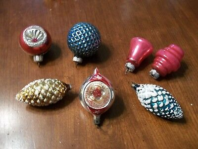 Lot of 7 Vintage Glass Christmas Ornaments Pinecones Bell Indents, more