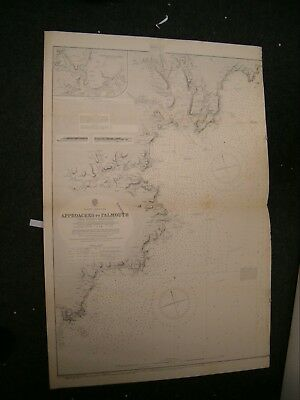 Vintage Admiralty Chart 154 UK - APPROACHES TO FALMOUTH 1915 edn