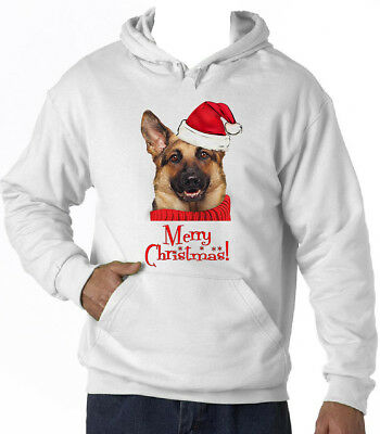 Merry Christmas German Shepherd 21 - New Cotton White Hoodie