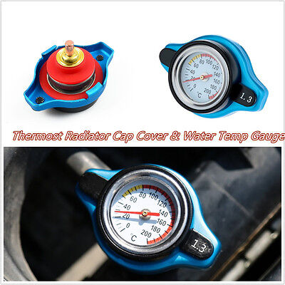 Small Head Car Offroad Thermostatic Radiator Cap Cover w/ Water Temp Gauge Meter